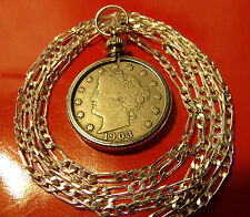 "AMERICAN LIBERTY NICKEL JEWELRY COIN  on a 30"" .925 Sterling Silver Chain"