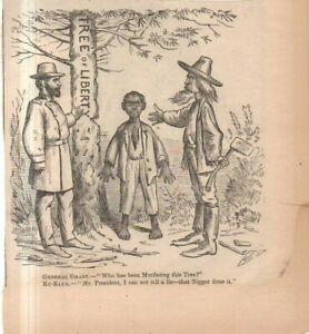 1871 Harpers Weekly Original print - KKK accuses Negro of chopping Liberty Tree