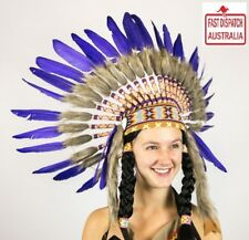 Native American Indian Headdress white and purple Chief Feather War Bonnet