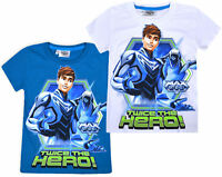 Boys New Max Steel T-shirt Kids Short Sleeve Cotton Disney Top Blue White 4 5 Yr