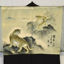 "Vintage Japanese Haori Formal Kimono Jacket Painted Silk Man's ""Three Tigers"""