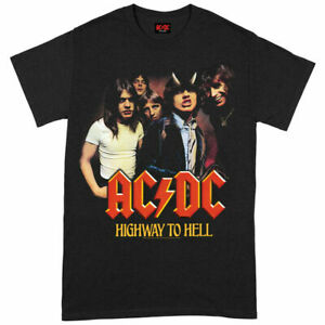 Official AC/DC T Shirt Highway To Hell Group Black Classic Rock Metal Tee Mens