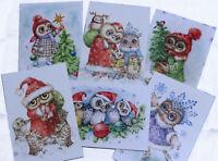 Owls Christmas greetings cards set of 6 by Inga Izmaylova SMG Russian Christmas