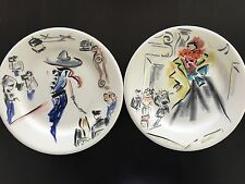 GIEN FRANCE JOLI PARIS DESSERT / SALAD PLATES, SET OF TWO CAROLINE SAINT GEORGES