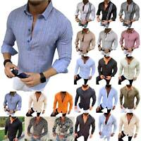 Mens Casual Shirts Muscle Slim Fit Long Sleeve Tops Shirt Fashion Blouse T-Shirt