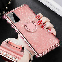 For iPhone 11 Pro 12 8 Plus 7 XS Max XR Bling Diamond Ring Holder TPU Case Cover
