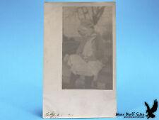 1911 Little Girl Child Baby Chick Big Bonnet Dress Sweater Vintage RPPC