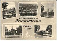 """Ansichtskarte Friedrichroda """"Waldschenke, Inselsberg, Tanzbuche, Heuberghaus"""" sw"""