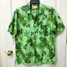 Vtg ROYAL HAWAIIAN HOTEL Button Front Camp Style Shirt GREEN Pineapples  (?)MED