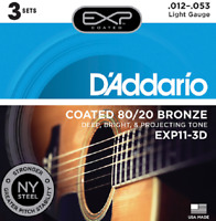 3 Pack D'Addario EXP11-3D Acoustic Guitar Strings Coated 80/20 Bronze Sets