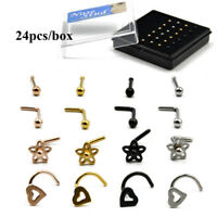 24PCS Nose Screw Nose Ring with Heart Flower Ball Top Nose Piercing Jewelry  20g