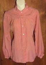 VTG SEARS Polyester Blouse Pink Lg Sleeve Peter Pan Gathered Yoke Sz 14 Women