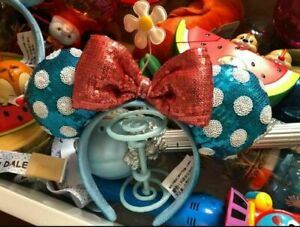 Disney Parks Teal Polka Dot Minnie Ears Sequin Headband Hat Flower Cosplay