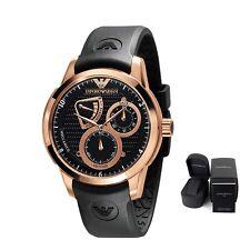 New Emporio Armani Men's Watch Sport AR4619 Meccanico Black Rubber Strap SALE
