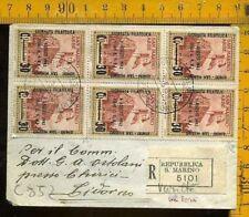 San Marino Raccomandata con Multiplo Sovrastampato 1942 con Varietà