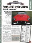VOITURE FERRARI 250 GT SPYDER CALIFORNIA FICHE TECHNIQUE AUTO 1958 COLLECTION