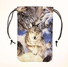 "Lone Wolf Tarot Bag or Pouch Gift Bag 5""x7"" Drawstring Bag Runes Dice"