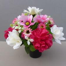 Artificial Flower Arrangement In Pot For Grave/Memorial Vase/ Pink 10