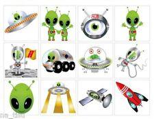 48 Tatuaggi alieni Rocket Party Borsa Filler Compleanno Sticker Bambini Divertente Body Art