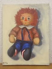 """Vintage Original One of a Kind Painting of Raggedy Ann Signed - 14"""" x 11"""""""