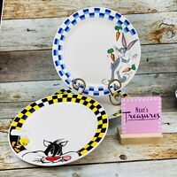 Vintage 90's Gibson LOONEY TUNES Checked Bugs Bunny Tweety Dinner Plates Set 4