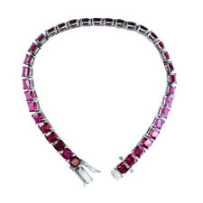 Sterling Silver 22.2 CTTW 5mm Cushion Cut Created Ruby Tennis Bracelet for Women