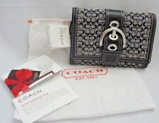 NWT COACH Women's Soho Mini Signature Leather/ Canvas Black/ White Wallet