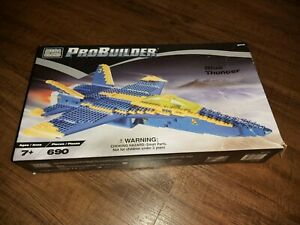 Blue Thunder Pro Builder Collectible Mega blocks #9743 Open Box Contents Sealed