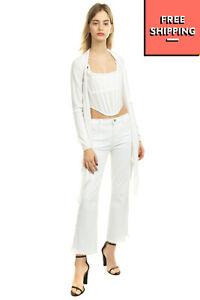 TWIN-SET SIMONA BARBIERI Cardigan Size S White Thin Knit Self Tie Made in Italy