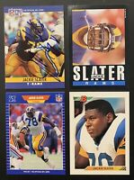🏈HOF Jackie Slater 4-CARD LOT including AUTOGRAPHED 1990 Pro Set + 1985 Topps