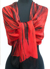 "Hand-Dyed Shibori Scarf Silk Chiffon 72"" x 20"" Red India Tie-Dye Bandhej"
