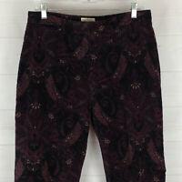 St. John's Bay womens size 14 x 30.5 stretch purple floral paisley velvet pants
