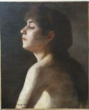 BUSTE JEUNE FEMME NUE ACADÉMIQUE - HUILE S/ TOILE 19ème SIGNÉE TROUILLEBERT,1896