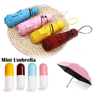 Mini Pocket Compact Umbrella Sun Anti UV 5 Folding Rain Windproof + Capsule Case