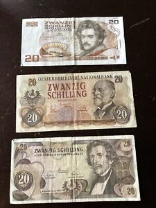 Austrian Schilling old banknotes - 60 - with tracking.
