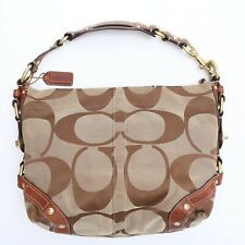 Coach Carly Brown and Tan Canvas Shoulder Bag