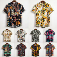 Summer Men's Short Sleeve Casual Loose Linen Retro Shirts T-shirt Tops Blouse