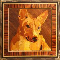 Basenji chien mur photo animal portrait en bois panneau d'art marqueterie...