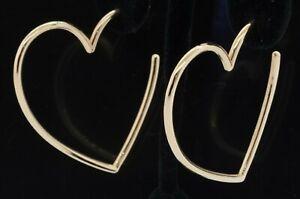Heavy 14K gold high fashion lovely jumbo heart hoop earrings