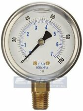 Dual Scale Air Gas Water Gauge 0-60psi with 1//4 Inches NPT Bottom Mount for Air Tank Accessory Pressure Gauge