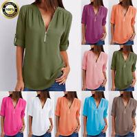 Womens Zipper Button Short Long Sleeve Loose Chiffon Casual T Shirt Tops Blouse