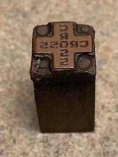 Vintage Letterpress Printers Block All Metal Amp Wood Of A Cross
