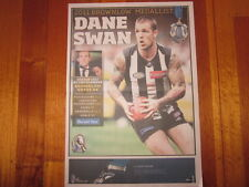 HERALD SUN COLLINGWOOD 2011 BROWNLOW MEDALLIST DANE SWAN NEWSPAPER POSTER