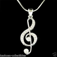 New w Swarovski Crystal ~TREBLE CLEF Musical music NOTE Jewelry Pendant Necklace