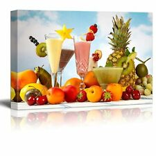 "Canvas Prints Wall Art - Tropical Fruits Smoothies with Garnishes- 16"" x 24"""