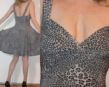 Sleek STRETCHY Marilyn SNOW LEOPARD EMPIRE WAIST DRESS SWEETHEART RUCHED TOP XS