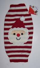 Red and White Stripe Dog Sweater with Santa face Sz Small Christmas Holiday Pet
