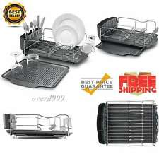 Rack Drying Dish Stainless Steel Tray Drain Holder Cookwear Cutlery Kitchen New