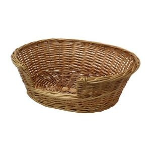 JVL Full Buff Wicker Small Animal Dog Cat Pet Bed Basket