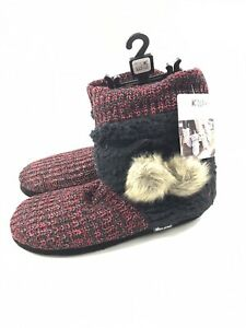 Muk Luks Delanie Slipper Booties with Pom Red Womens Red XL 11-12 NWT